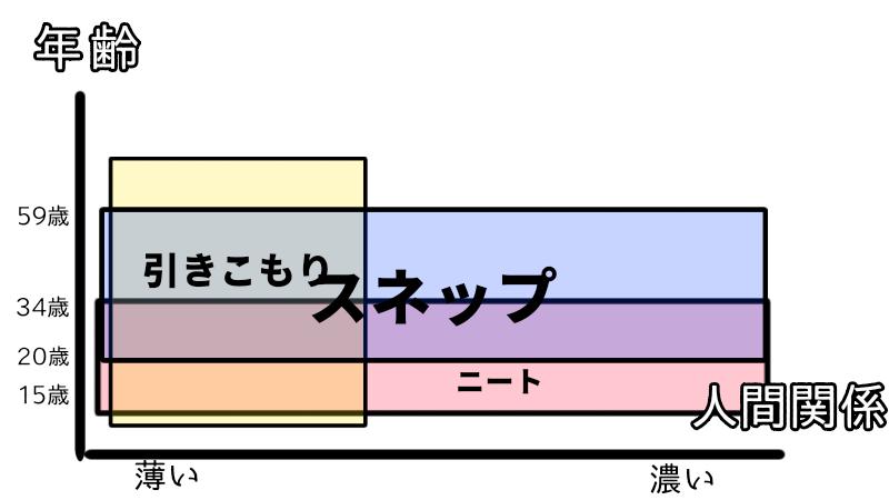 スネップとニートと引きこもりの図解 グラフ