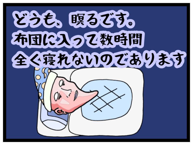 布団に入っている瞑る「どうも、瞑るです。布団に入って数時間全く寝れないのであります。」